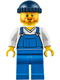 Minifig No: cty0648  Name: Fire Lighthouse Keeper - Overalls Blue over V-Neck Shirt, Blue Legs, Dark Blue Knit Cap