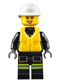 Minifig No: cty0650  Name: Fire - Reflective Stripes with Utility Belt and Flashlight, Life Preserver, White Fire Helmet, Peach Lips Open Mouth Smile