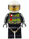 Minifig No: cty0670  Name: Fire - Reflective Stripes with Utility Belt and Flashlight, White Helmet, Trans-Black Visor, Silver Sunglasses