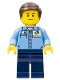 Minifig No: cty0672  Name: Medium Blue Uniform Shirt with Pocket and Octan Logo, Dark Blue Legs, Dark Brown Smooth Hair