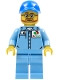 Minifig No: cty0673  Name: Medium Blue Uniform Shirt with Pocket and Octan Logo, Medium Blue Legs, Blue Cap with Hole