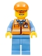 Minifig No: cty0677  Name: Orange Safety Vest with Reflective Stripes, Medium Blue Legs, Orange Short Bill Cap, Orange Sunglasses