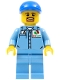 Minifig No: cty0679  Name: Medium Blue Uniform Shirt with Pocket and Octan Logo, Medium Blue Legs, Blue Short Bill Cap, Goatee