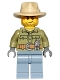 Minifig No: cty0684  Name: Volcano Explorer - Male, Shirt with Belt and Radio, Tan Fedora Hat, Crooked Smile and Scar
