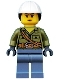 Minifig No: cty0687  Name: Volcano Explorer - Female, Shirt with Belt and Shoulder Ropes, White Construction Helmet with Long Hair