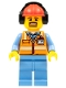Minifig No: cty0688  Name: Orange Safety Vest with Reflective Stripes, Medium Blue Legs, Red Construction Helmet with Headset