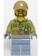 Minifig No: cty0695  Name: Volcano Explorer - Male, Shirt with Belt and Radio, Dark Tan Cap with Hole, Black Angular Beard