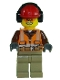 Minifig No: cty0699  Name: Construction Worker - Orange Zipper, Safety Stripes, Belt, Brown Shirt, Dark Tan Legs, Red Construction Helmet, Headphones, Sunglasses