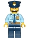 Minifig No: cty0708  Name: Police - City Shirt with Dark Blue Tie and Gold Badge, Dark Tan Belt with Radio, Dark Blue Legs, Police Hat with Gold Badge, Head Beard Black Angular