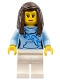 Minifig No: cty0710  Name: Pizza Van Customer Female, Bright Light Blue Hoodie with Swirl Flower Pattern, Dark Brown Hair