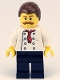 Minifig No: cty0711  Name: Pizza Van Chef, Black Legs, Reddish Brown Moustache