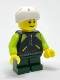 Minifig No: cty0720  Name: Skateboarder - Lime and Black Jacket
