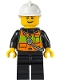 Minifig No: cty0741  Name: Fire - Reflective Stripe Vest with Pockets and Shoulder Strap, White Fire Helmet