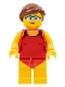 Minifig No: cty0759  Name: Beachgoer - Red Female Swimsuit and Light Blue Glasses