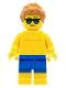 Minifig No: cty0760  Name: Beachgoer - Blue Male Swim Trunks and Sunglasses
