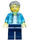 Minifig No: cty0762  Name: Beachgoer - Gray Male Hair, Glasses and Hawaiian Shirt