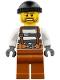 Minifig No: cty0773  Name: Police - Jail Prisoner Overalls 621 Prison Stripes, Dark Orange Legs, Black Knit Cap, Beard