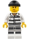 Minifig No: cty0775  Name: Police - Jail Prisoner 86753 Prison Stripes, Black Knit Cap, White Striped Legs, Sweat Drops