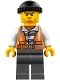 Minifig No: cty0779  Name: Police - City Bandit Crook Orange Vest, Dark Bluish Gray Legs, Black Knit Cap, Beard Stubble and Scowl