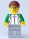 Minifig No: cty0784  Name: City Newsstand Worker - Female Outline Sweatshirt with Zipper, Light Bluish Gray Legs, Reddish Brown Hair with Bun, Glasses