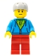 Minifig No: cty0785  Name: City Bus Passenger - Dark Azure Hoodie with Green Striped Shirt, Red Legs, Light Bluish Gray Sports Helmet