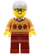 Minifig No: cty0786  Name: City Newsstand Visitor - Medium Dark Flesh Argyle Sweater, Dark Red Legs, Light Bluish Gray Hair