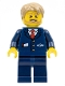 Minifig No: cty0787  Name: City Bus Driver - Dark Blue Suit with Train Logo, Dark Tan Short Tousled Hair, Beard