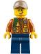 Minifig No: cty0790  Name: City Jungle Explorer - Dark Orange Jacket with Pouches, Dark Blue Legs, Dark Tan Cap with Hole, Cheek Scuff
