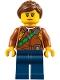 Minifig No: cty0791  Name: City Jungle Explorer Female - Dark Orange Shirt with Green Strap, Dark Blue Legs, Reddish Brown Ponytail and Swept Sideways Fringe
