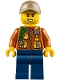 Minifig No: cty0792  Name: City Jungle Explorer - Dark Orange Jacket with Pouches, Dark Blue Legs, Dark Tan Cap with Hole, Stubble