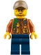 Minifig No: cty0795  Name: City Jungle Explorer - Dark Orange Jacket with Pouches, Dark Blue Legs, Dark Tan Cap with Hole, Crooked Smile and Scar