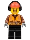 Minifig No: cty0799  Name: Cargo Center Worker - Orange Zipper, Safety Stripes, Belt, Brown Shirt, Black Legs, Red Construction Helmet, Headphones , Brown Moustache and Goatee