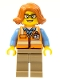 Minifig No: cty0801  Name: Cargo Office Worker - Orange Safety Vest with Reflective Stripes, Dark Tan Legs, Dark Orange Female Hair Short Swept Sideways, Glasses