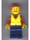 Minifig No: cty0803  Name: City Jungle Explorer - Dark Orange Jacket with Pouches, Dark Blue Legs, Dark Orange Smooth Hair, Life Jacket Center Buckle, Moustache