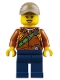 Minifig No: cty0804  Name: City Jungle Explorer Female - Dark Orange Shirt with Green Strap, Dark Blue Legs, Dark Tan Cap with Hole, Black Eyebrows