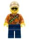 Minifig No: cty0808  Name: City Jungle Explorer Female - Dark Orange Shirt with Green Strap, Dark Blue Legs, Dark Tan Cap with Hole, Sunglasses