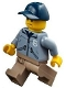 Minifig No: cty0883  Name: Mountain Police - Officer Male, Dark Blue Cap, Sand Blue Jacket