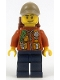 Minifig No: cty0886  Name: City Jungle Explorer - Dark Orange Jacket with Pouches, Dark Blue Legs, Dark Tan Cap with Hole, Smirk and Stubble Beard with Backpack