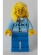 Minifig No: cty0892  Name: Fair Isle Sweater, Bright Light Yellow Female Hair over Shoulder, Blue Legs