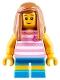 Minifig No: cty0907  Name: Hiker, Girl Child, Pink Kitty Shirt, Medium Dark Flesh Long Straight Hair with Side Part