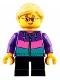 Minifig No: cty0908  Name: Hiker, Girl Child, Dark Purple Jacket, Glasses, Bright Light Yellow Ponytail and Swept Sideways Fringe