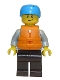 Minifig No: cty0914  Name: Rafter, Adult Son, Dark Azure Sports Helmet, Orange 2 Strap Life Jacket