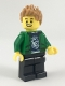 Minifig No: cty0920  Name: Hiker, Male, Green Jacket over Raccoon Shirt, Black Legs, Medium Dark Flesh Spiked Hair