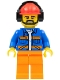Minifig No: cty0949  Name: Airport Flagman, Red Helmet with Earmuffs, Blue Jacket with Orange Stripes and Legs