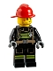 Minifig No: cty0951  Name: Fire - Reflective Stripes, Stubble Beard, Red Helmet