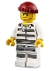 Minifig No: cty0954  Name: Sky Police - Jail Prisoner 50380 Prison Stripes, Stubble, Dark Red Knit Cap