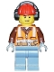 Minifig No: cty0955  Name: Construction Worker - Orange Zipper, Safety Stripes, Belt, Brown Shirt, Sand Blue Legs, Red Construction Helmet, Headphones, Slight Smile, Stubble
