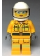 Minifig No: cty0961  Name: Fire - Reflective Stripes, Bright Light Orange Suit, White Helmet, Safety Glasses, Peach Lips Closed Mouth Smile