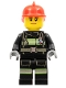 Minifig No: cty0963  Name: Fire - Reflective Stripes with Utility Belt, Red Fire Helmet, Peach Lips Closed Mouth Smile