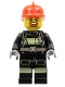 Minifig No: cty0966  Name: Fire - Reflective Stripes with Utility Belt, Red Fire Helmet, Brown Goatee